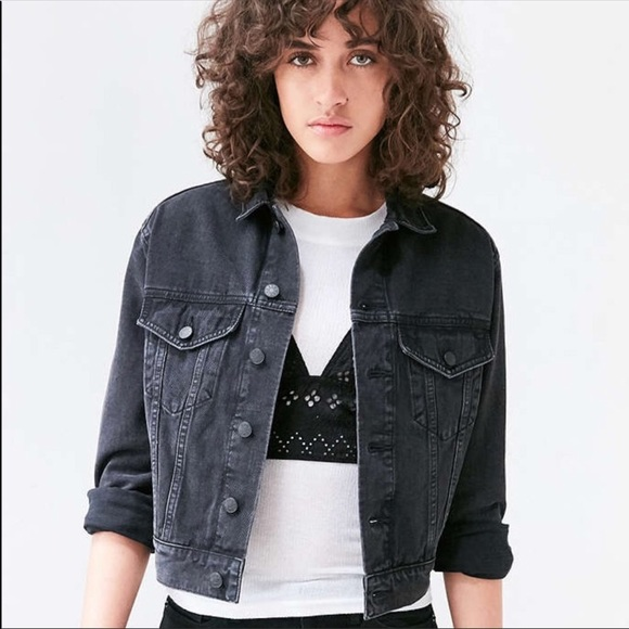e1b4efa2a NEAR NEW BDG Distressed Cropped Black Denim Jacket